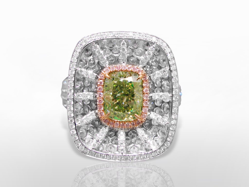 GIA Certified 2.31ct Cushion Cut Fancy Yellow-Green Diamond Ring