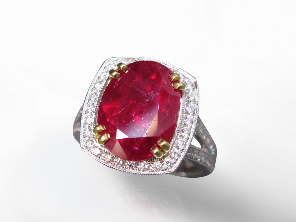 5.19ct Oval Cut Unheated Ruby and Diamond Ring, Certified By C. Dunaigre Swiss