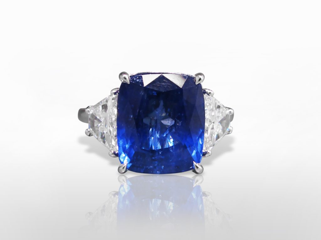 GIA Certified 9.32ct Cushion Cut Unheated Blue Sapphire and Diamond Ring