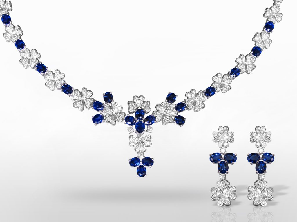 18k White Gold Blue Sapphire and Diamond Necklace and Earrings Set
