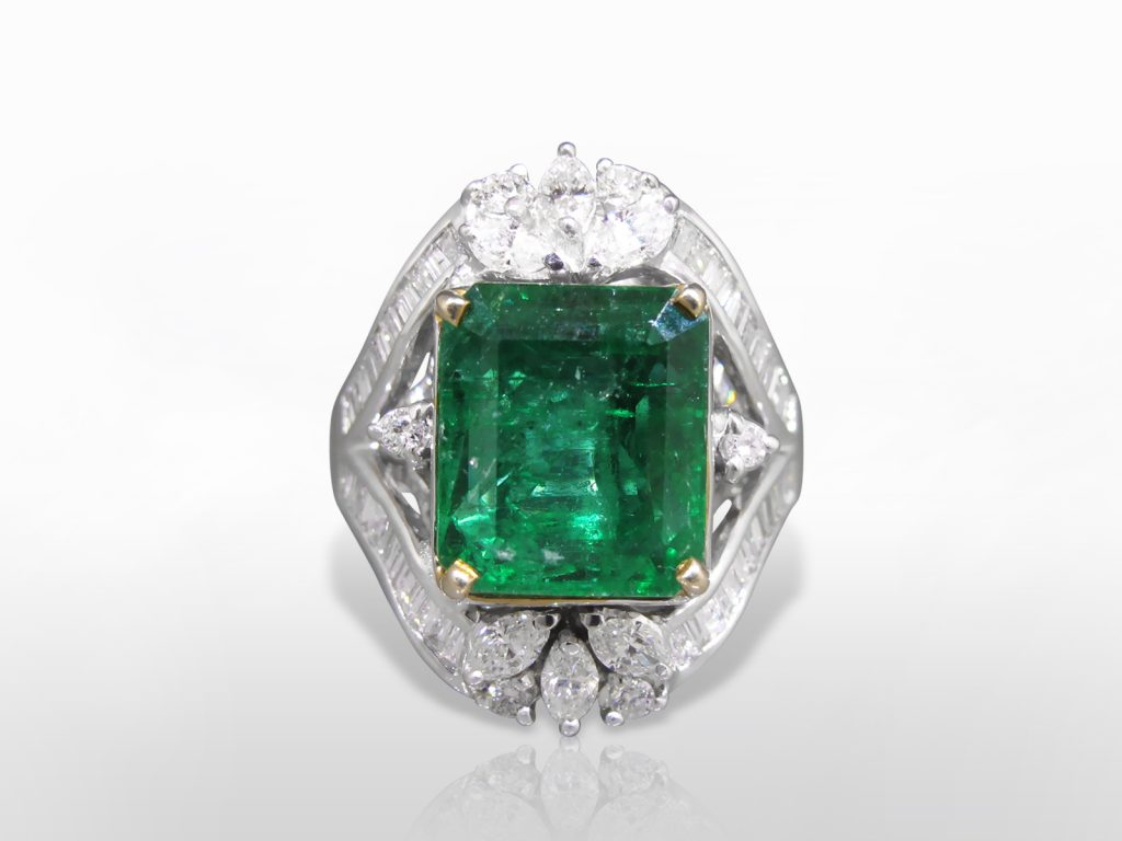 AIGS Certified 6.29ct Emerald Octagonal Cut Emerald and Diamond Ring