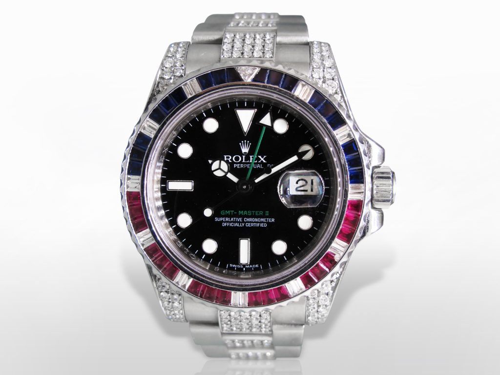Men's Stainless Steel Rolex GMT-Master II Oyster Perpetual Automatic Wristwatch with Diamonds, Rubies and Sapphires