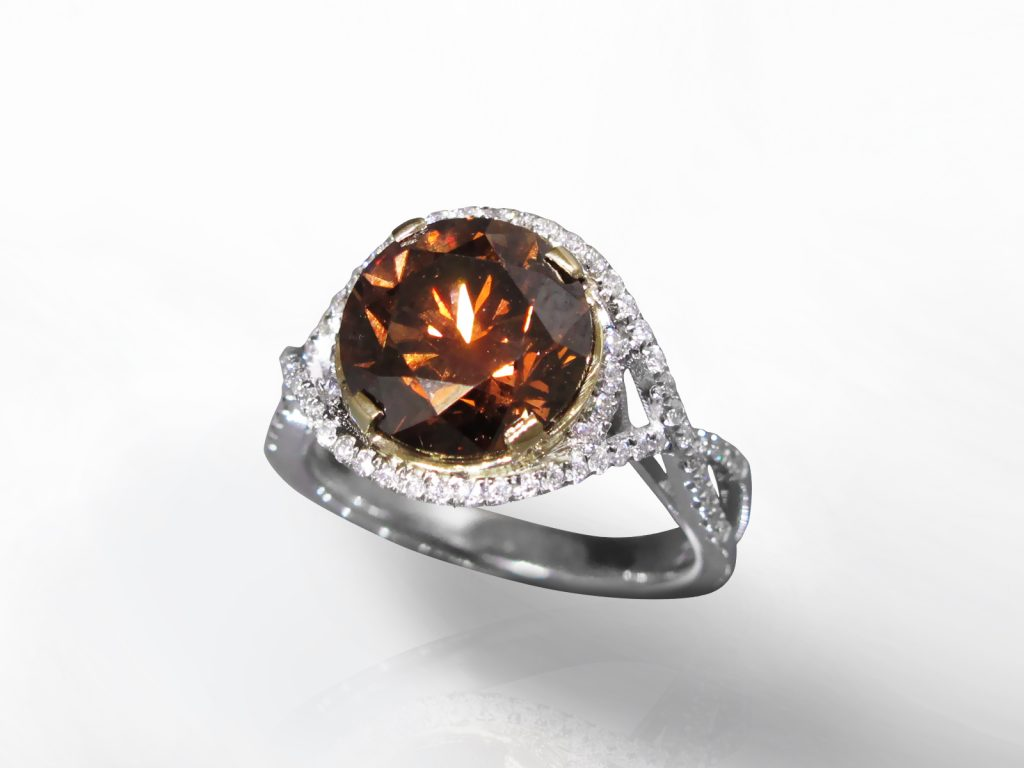 Lady's 18k White Gold 4.12ct Fancy Deep Orangy Brown Diamond Ring