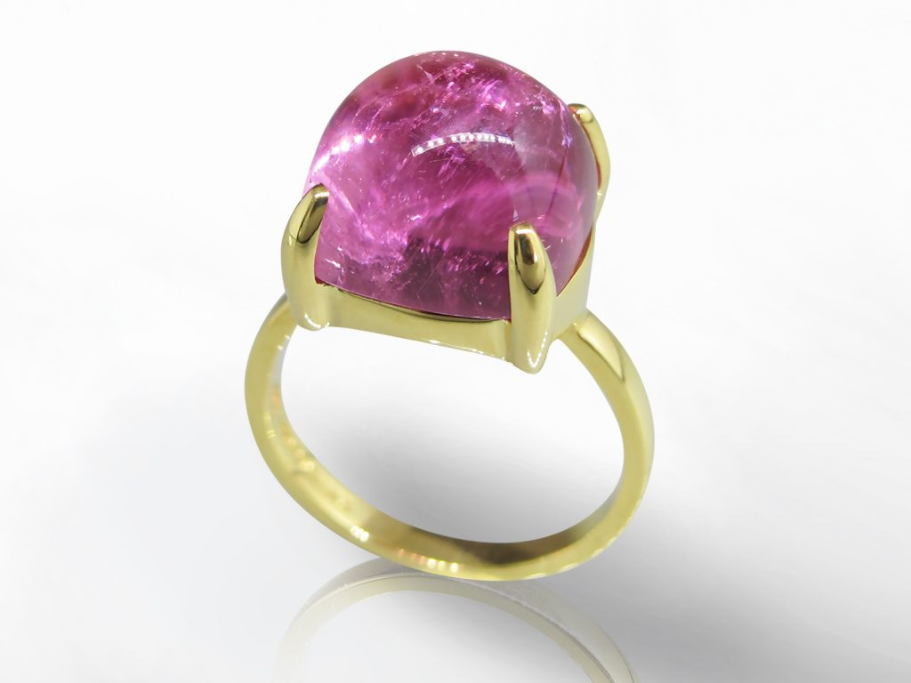 """Lady's 18k Yellow Gold Rubellite Ring, Signed Tiffany & Co. """"Sugarstack"""" Series By Paloma Picasso"""