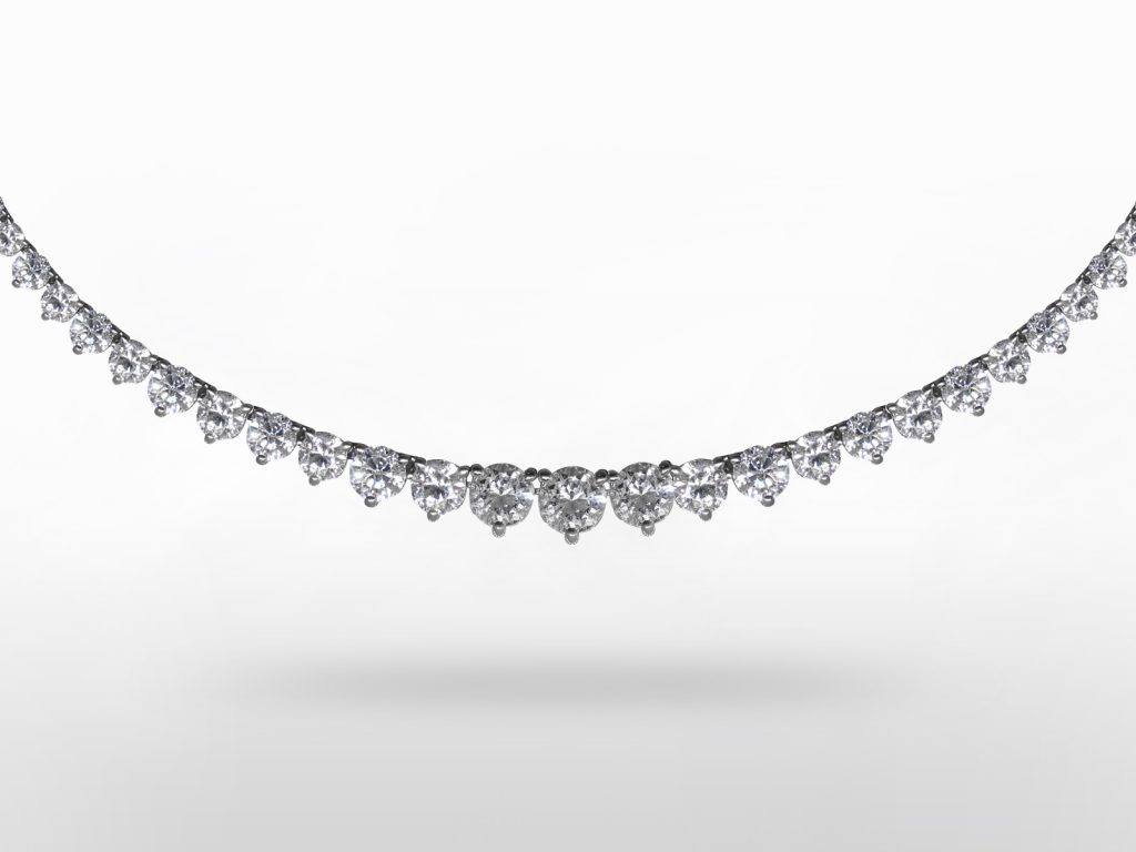Lady's 18k White Gold 13.48ct (TDW) Diamond Tennis Necklace