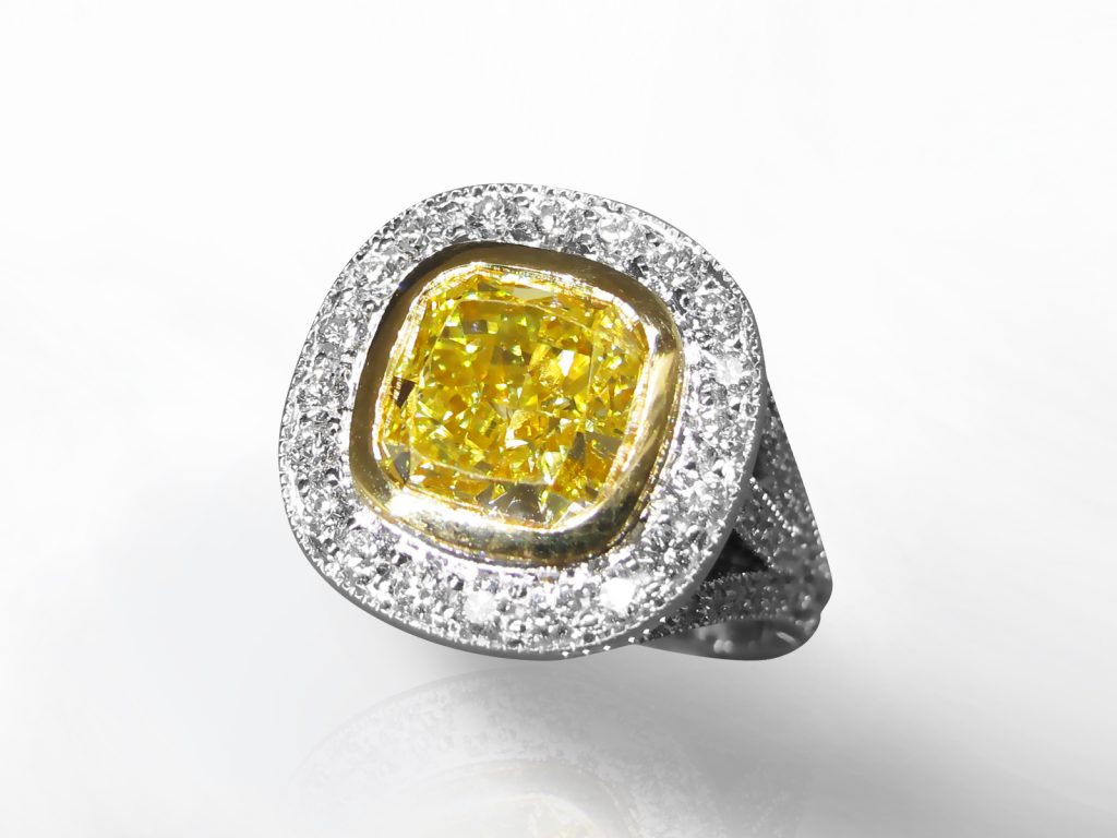 GIA Certified 3.55ct Cushion Cut Fancy Yellow Diamond Ring