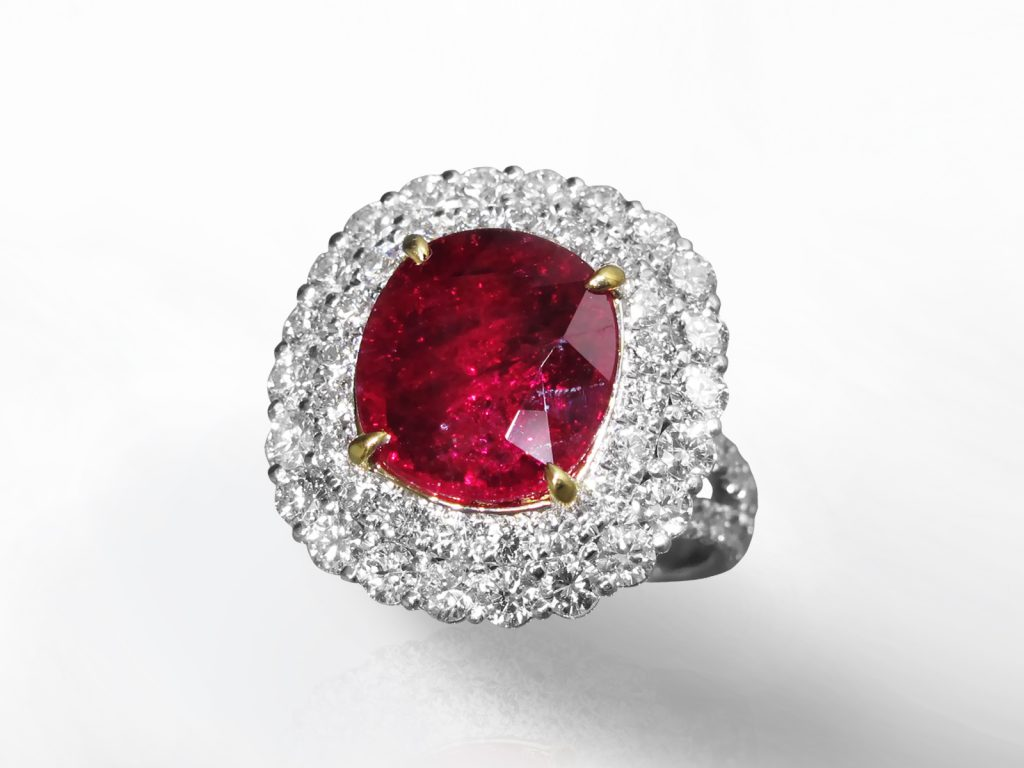 GIA Certified 5.59ct Cushion Cut Unheated Ruby and Diamond Ring