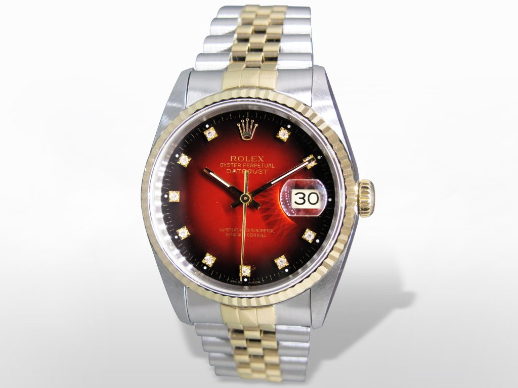 Men's Stainless Steel/18k Yellow Gold Rolex Datejust Automatic Wristwatch with Red Dial
