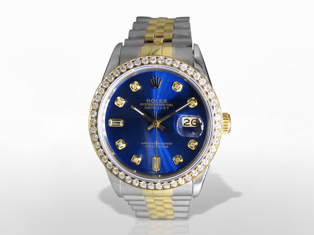 Men's 18k Stainless Steel/18k Yellow Gold Rolex Datejust Automatic Wristwatch with Diamonds