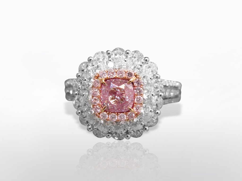 GIA Certified 1.00ct Fancy Light Purplish Pink Diamond Ring