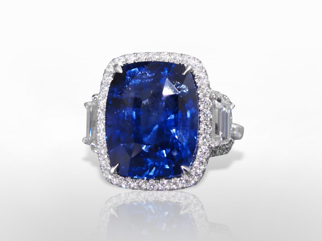 GIA Certified 16.02ct Cushion Cut Blue Sapphire and Diamond Ring