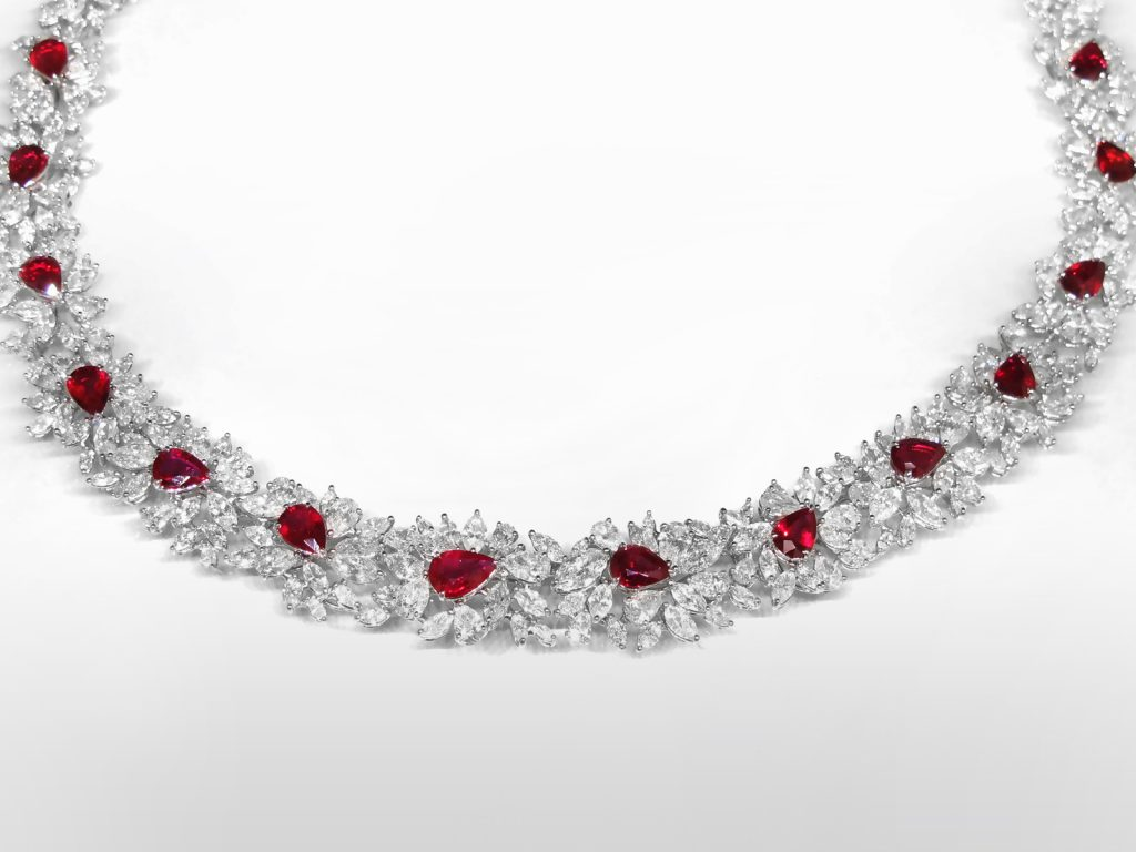 Elegant 18k White Gold 10.96ct (TW) Ruby and 32ct (TDW) Diamond Necklace