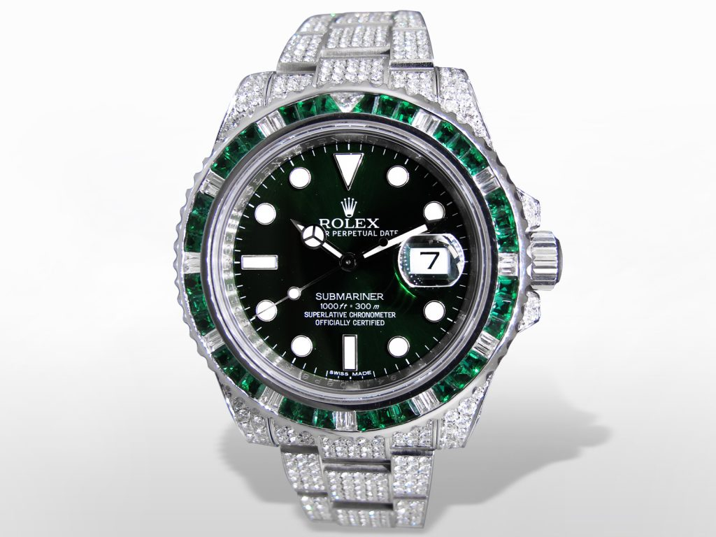 "Men's Stainless Steel Rolex ""Submariner"" Chronometer. Green Dial with Luminescent Markers"