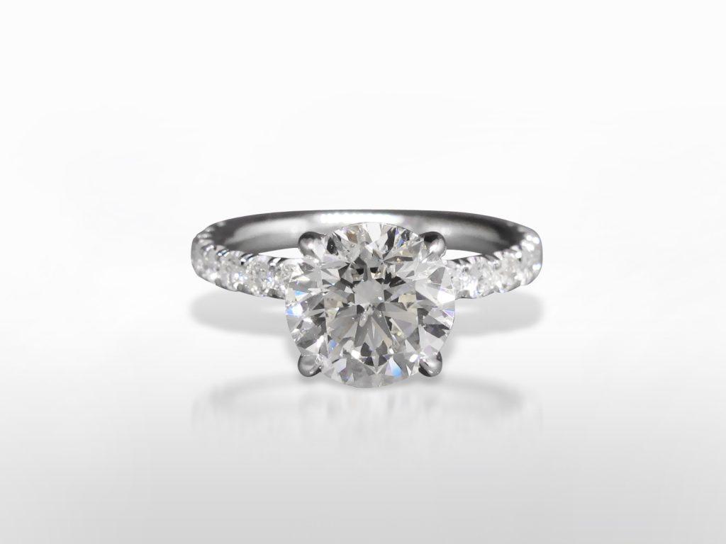 EGL Certified 3.03ct Round Brilliant Cut Diamond Ring