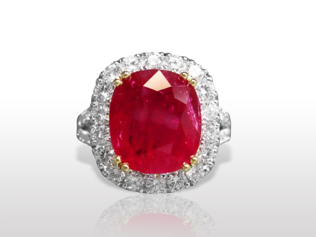 GRS Certified 9.40ct Cushion Cut Ruby and Diamond Ring