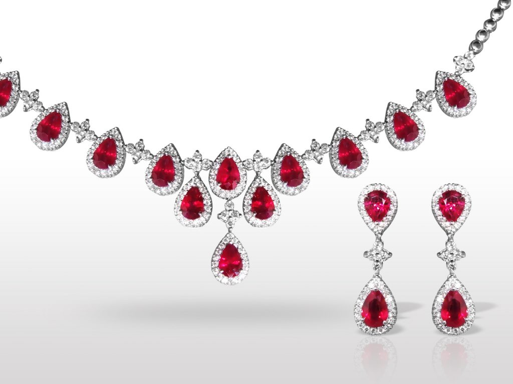 18k White Gold 8.8ct (TW) Burma Ruby and Diamond Necklace and Earrings Set