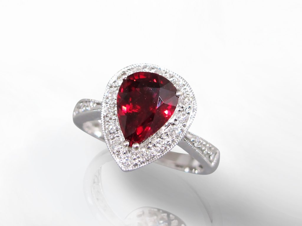 Lady's 18k White Gold 2.32ct Fine Ruby and Diamond Ring