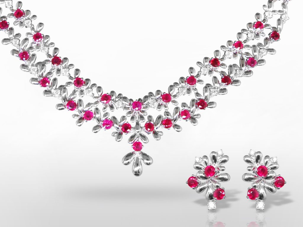 18k White Gold 14ct (TW) Ruby and Diamond Necklace and Earrings Set