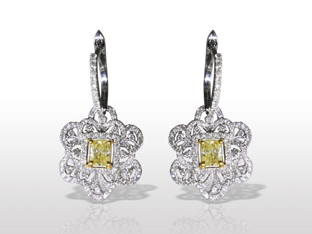 Lady's 18k White/Yellow Gold Fancy Yellow Diamond Earrings