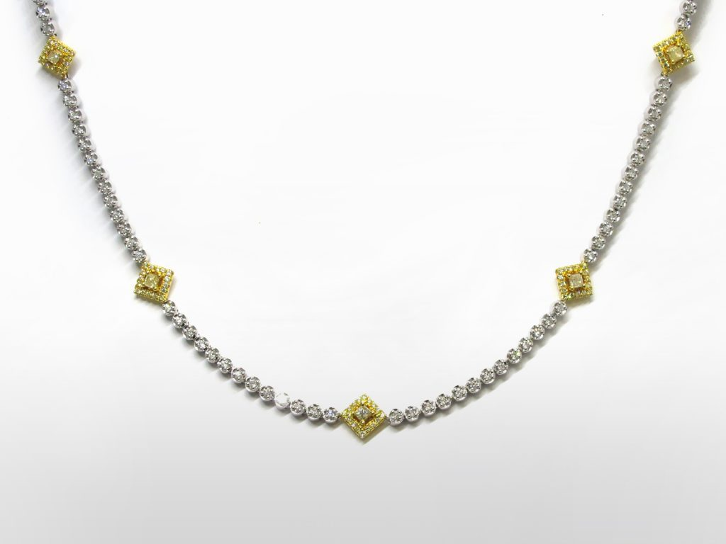 Lady's 14k White/Yellow Gold Fancy Yellow Diamond Necklace