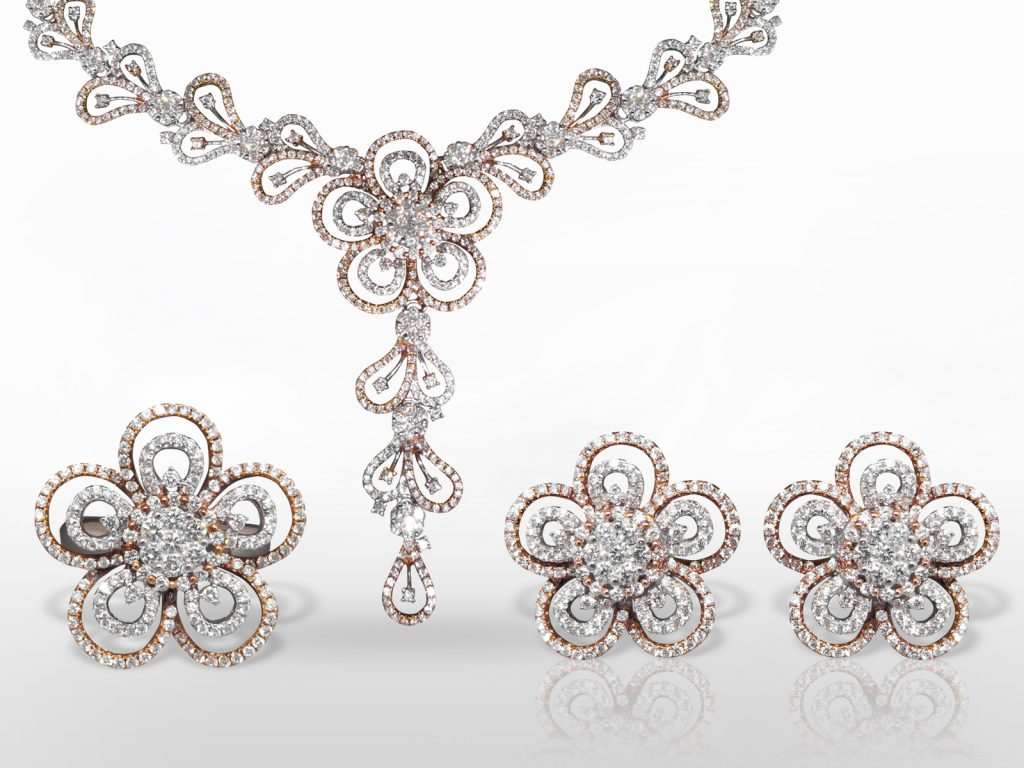 Elegant 18k White/Rose Gold Cluster Diamond Necklace, Earrings and Ring Set