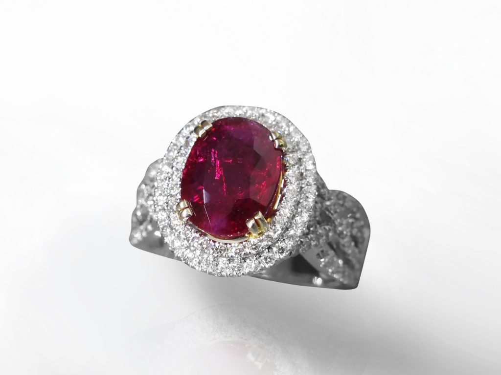 GIA Certified 3.06ct Oval Cut Unheated Ruby and Diamond Ring