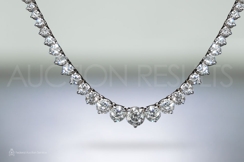 Lady's 18k White Gold 11.96ct (TDW) Diamond Tennis Necklace sold for $16,600