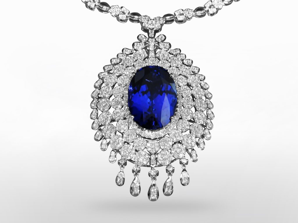 GIA Certified 89.42ct Oval Cut Tanzanite and Diamond Pendant Necklace