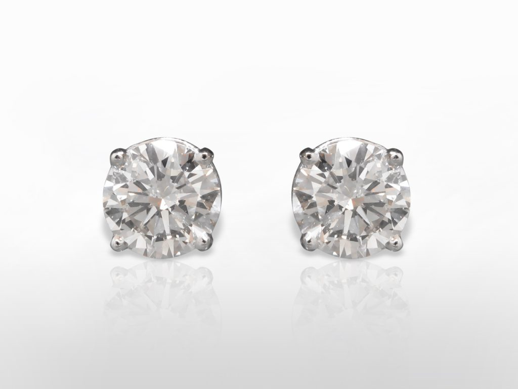 AGS Certified 2.082ct and 2.082ct Round Brilliant Cut Diamonds Earrings