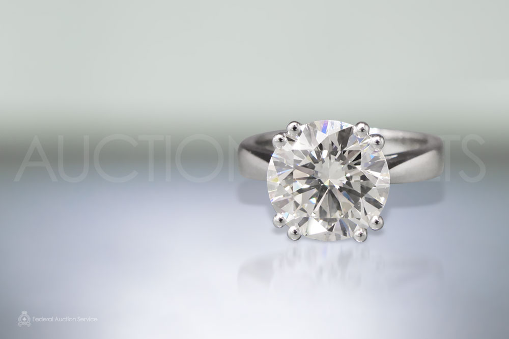 """EGL Certified 4.39ct Round Brilliant """"Hearts and Arrows"""" Cut Diamond Ring sold for $61,800"""