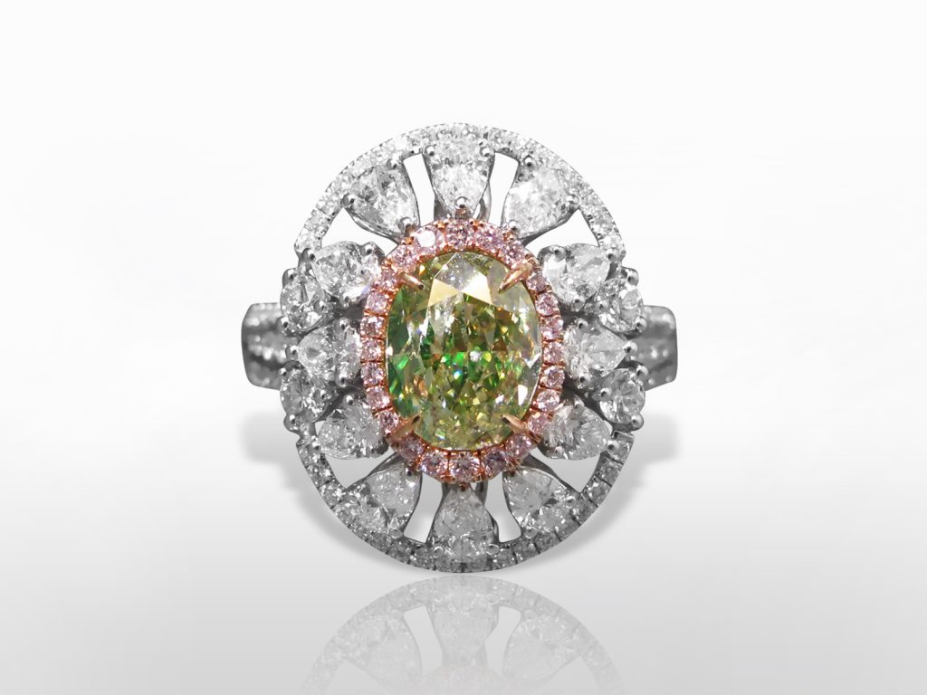 GIA Certified 2.01ct Oval Cut Fancy Light Greenish Yellow Diamond Ring