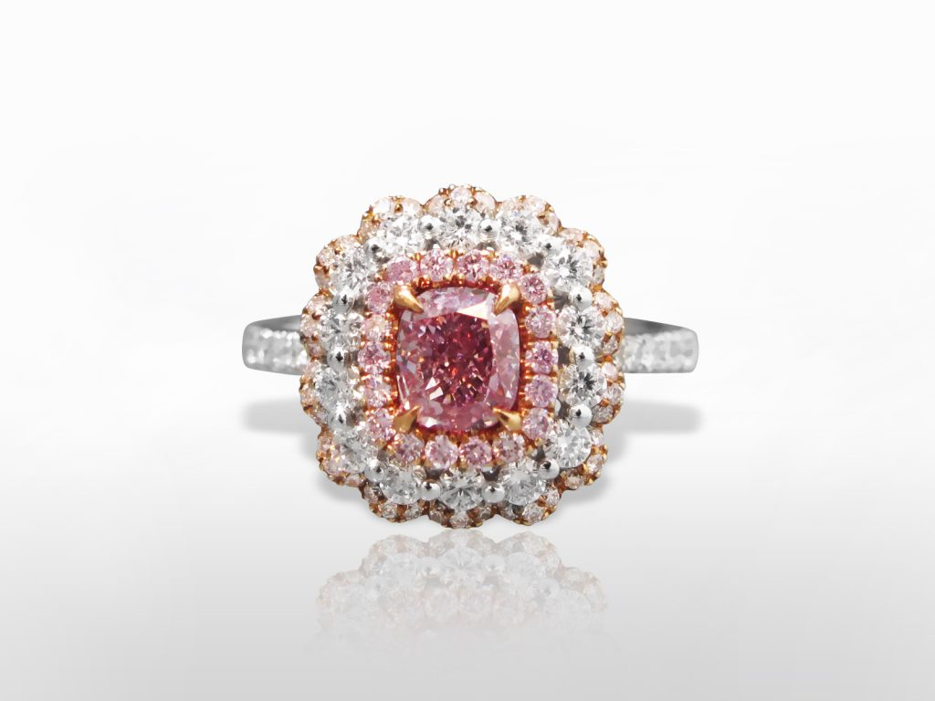 GIA Certified 1.01ct Fancy Purplish Pink Diamond Ring