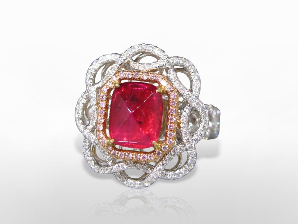 GRS Certified 1.60ct Sugarloaf Cut Unheated Ruby and Diamond Ring