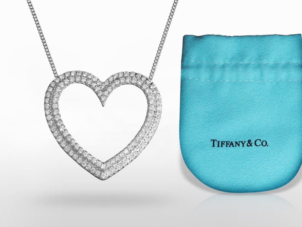 "Platinum Tiffany & Co. ""Metro"" Heart Shape Diamond Pendant Necklace"