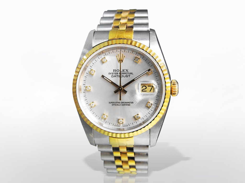 Men's Stainless Steel /18k Yellow Gold Rolex Datejust Automatic Wristwatch with Diamond Dial