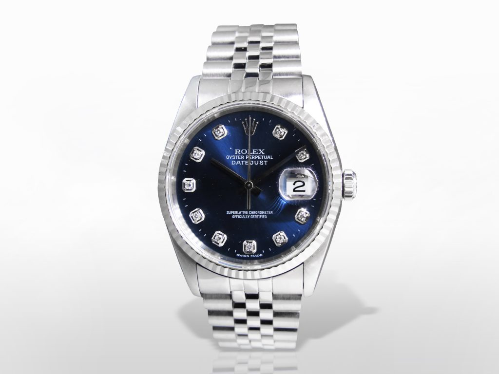 Men's Stainless Steel Rolex Datejust Automatic Wristwatch with Diamond Dial