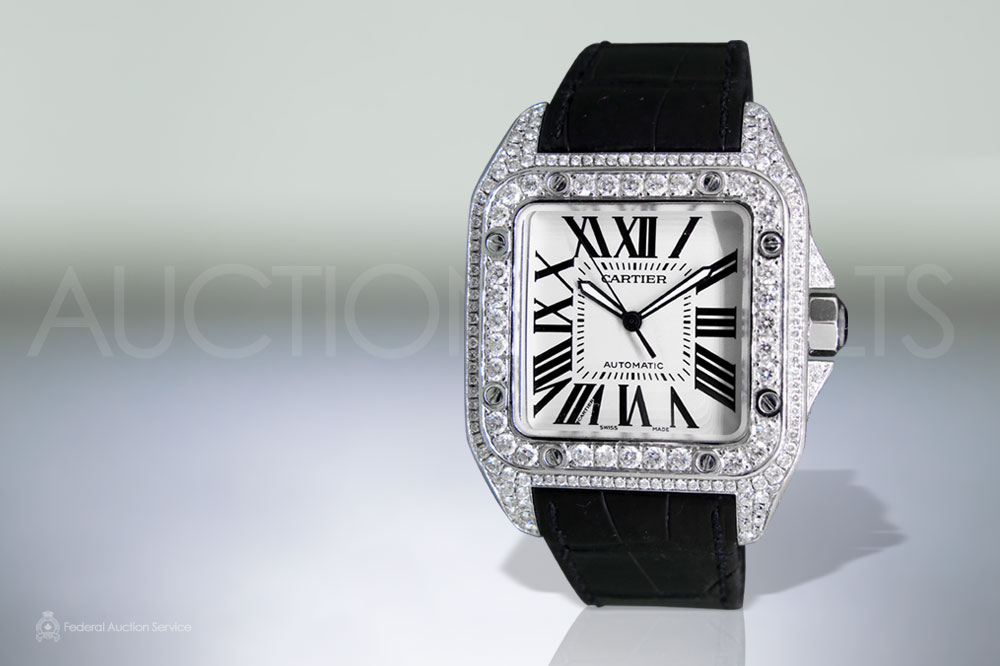 Stainless Steel Cartier 'Santos 100' Automatic Wristwatch with Diamonds sold for $16,500