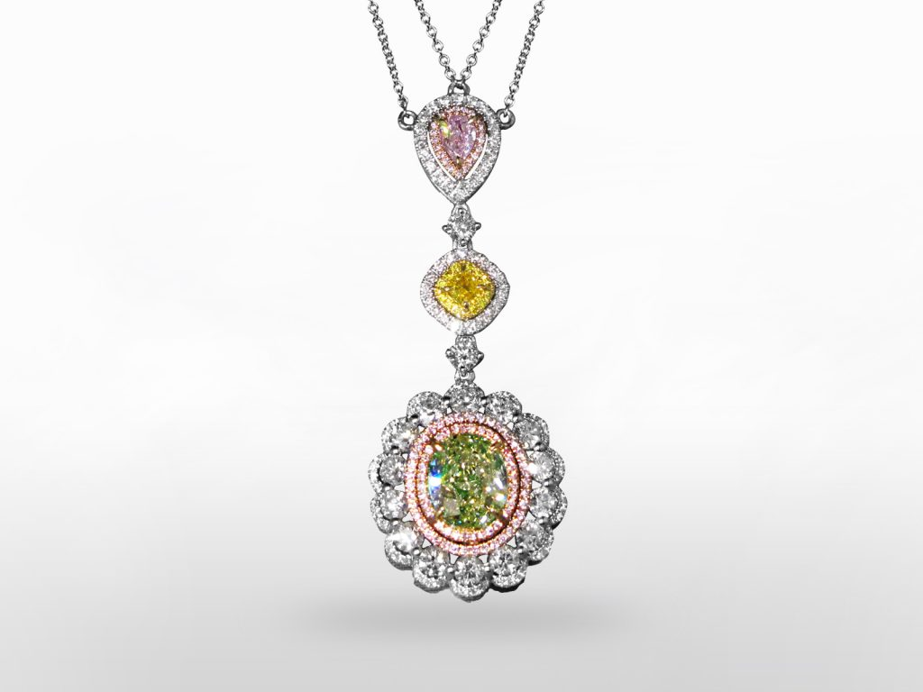 GIA Certified 1.72ct Fancy Light Brownish Greenish Yellow Diamond Necklace