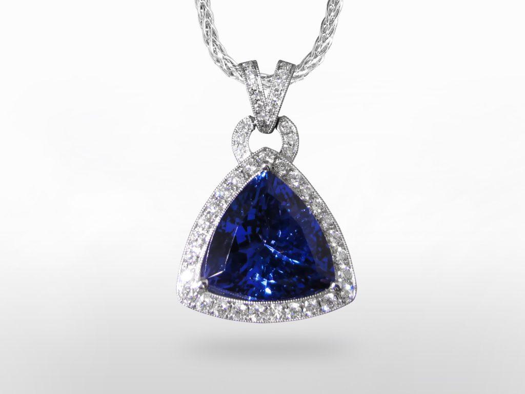 Lady's 19k White Gold 8.45ct Tanzanite and Diamond Pendant Necklace