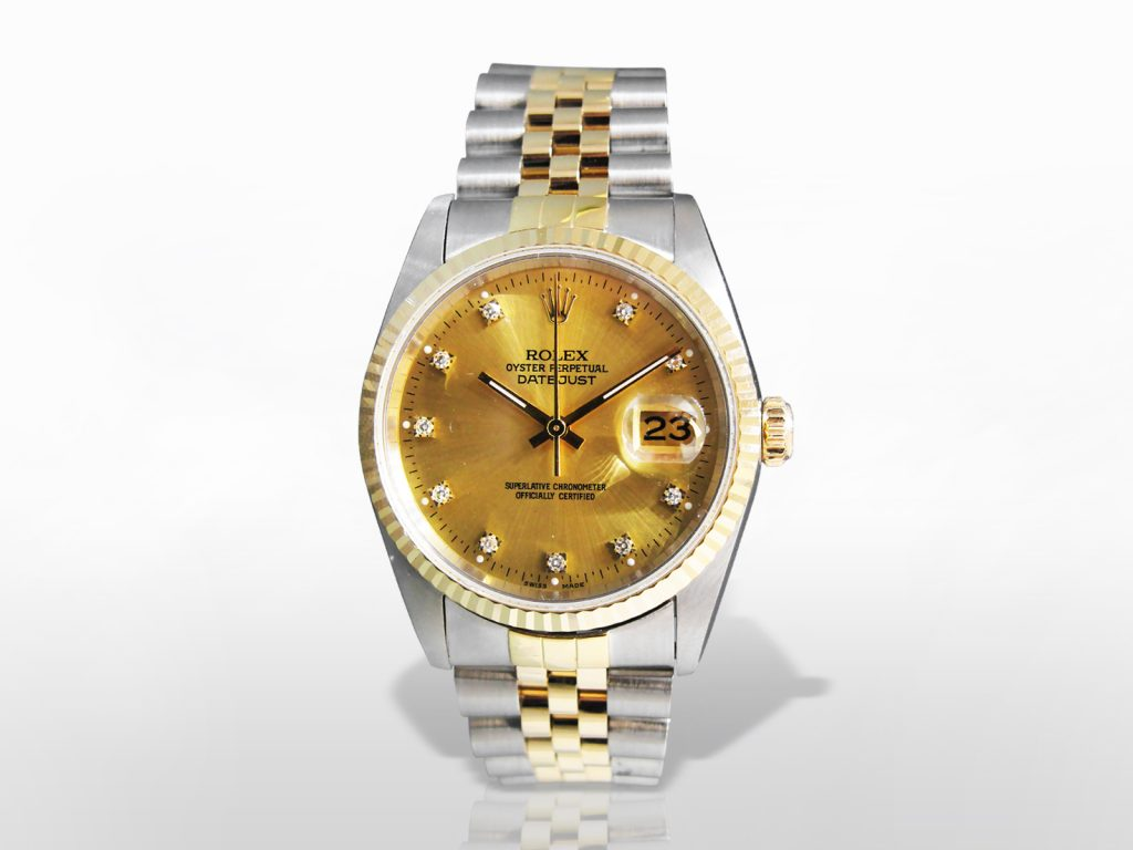 Men's 18k Yellow Gold/Stainless Steel Rolex Datejust Automatic Wristwatch with Diamonds