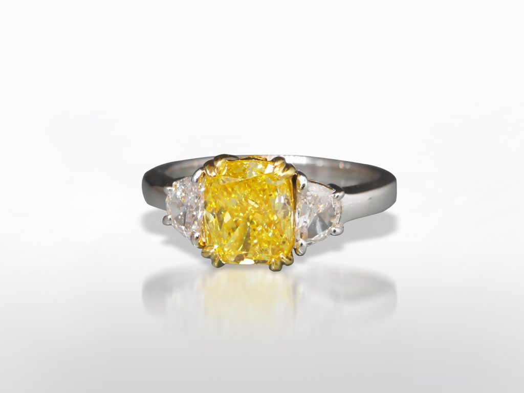 GIA Certified 2.01ct Cushion Brilliant Cut Fancy Intense Yellow Diamond Ring