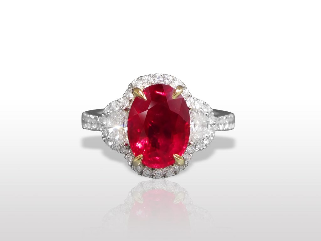 Lady's 18k White Gold 4ct Burma Ruby and Diamond Ring