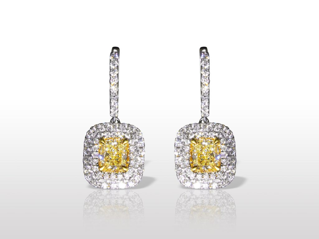 18k White/Yellow Gold 2.36ct (TDW) Fancy Intense Yellow Diamond Earrings