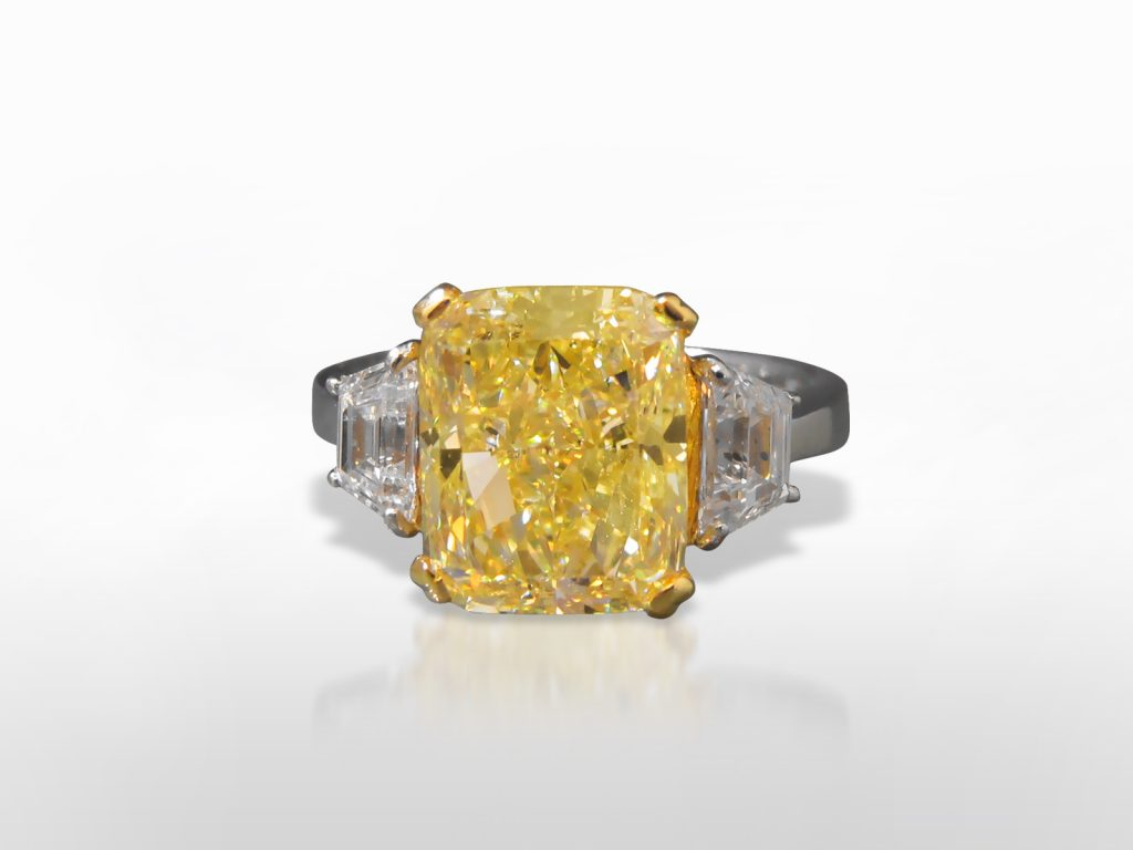 GIA Certified 5.88ct Round Cornered Rectangular Fancy Yellow Diamond Ring