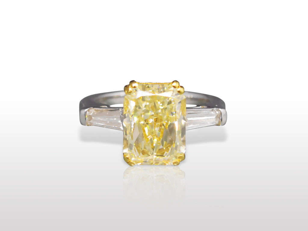 EGL Certified 3.51ct Cut-Cornered Rectangular Cut Fancy Yellow Diamond Ring