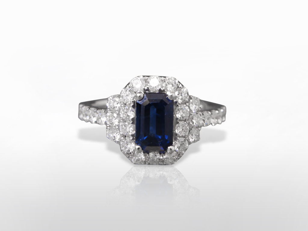 Lady's 18k White Gold 1.62ct Sri-Lanka Blue Sapphire and Diamond Ring
