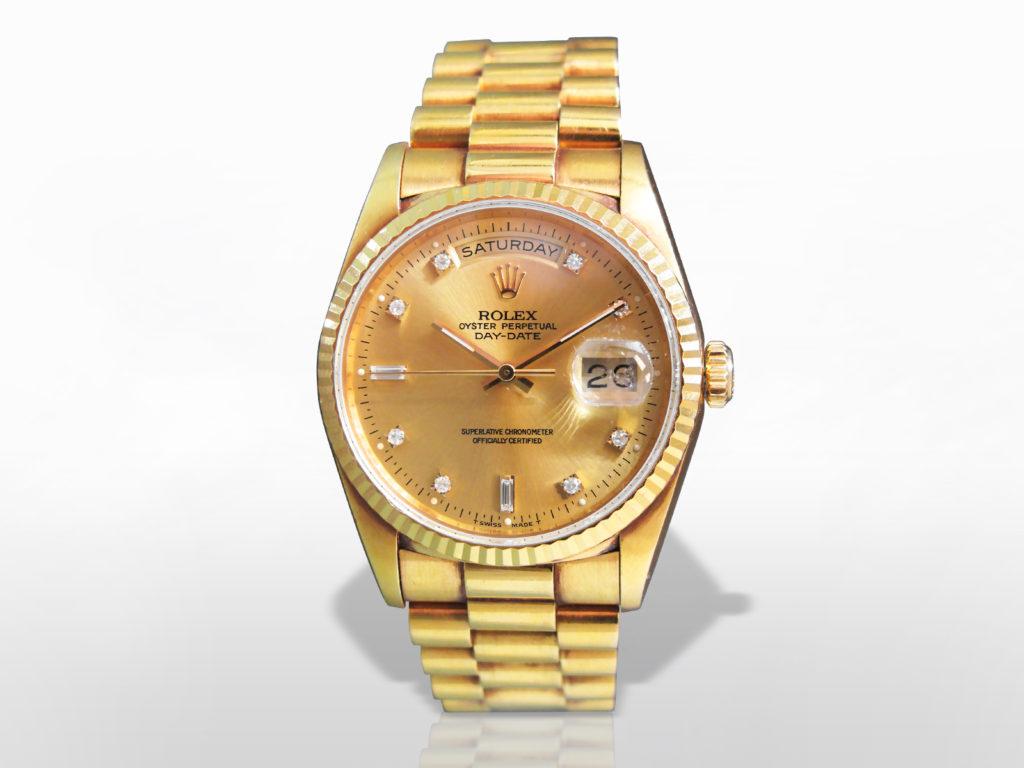 Men's 18k Yellow Gold Rolex Day-Date Automatic Wristwatch with Diamonds