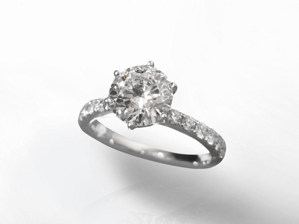IGI Certified 2.04ct Round Brilliant Cut Diamond Ring
