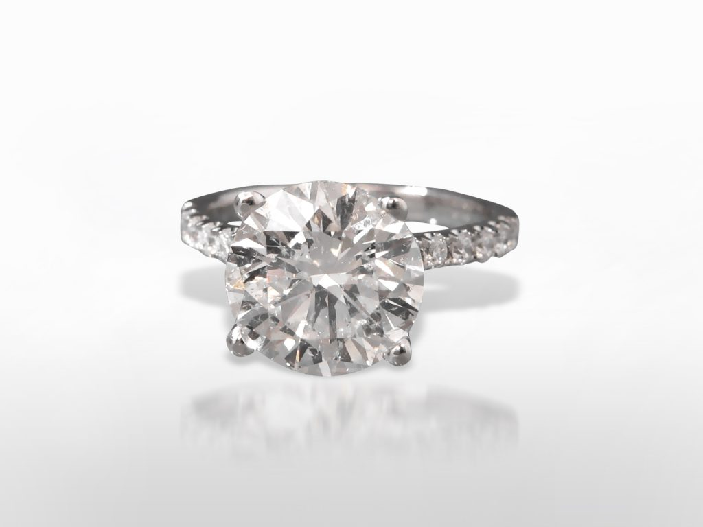 AGS Certified 4.56ct Round Brilliant Cut Diamond Ring
