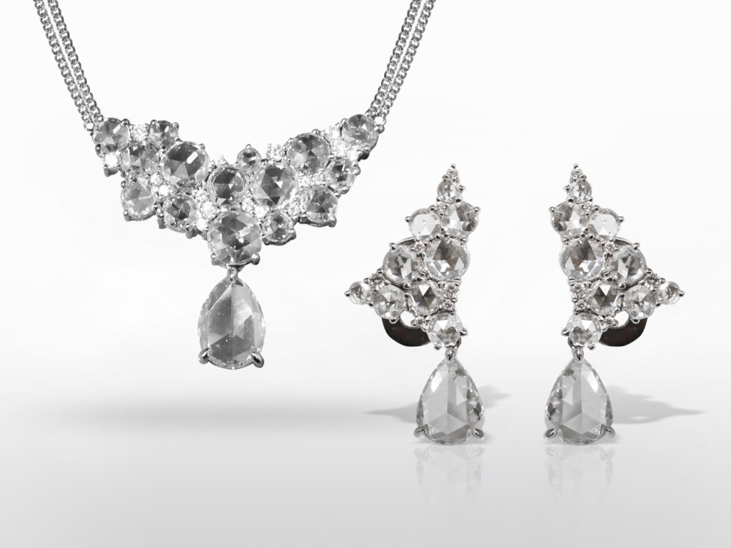 Elegant 18k White Gold Rose Cut Diamond Earrings and Necklace Set